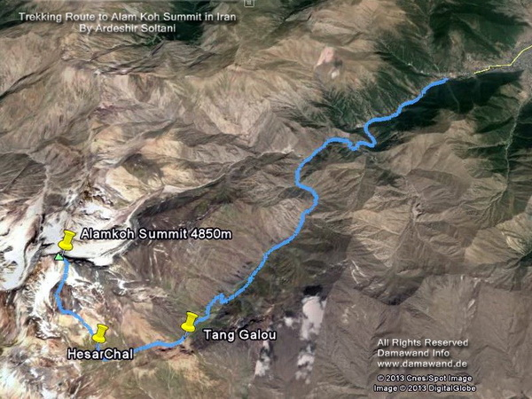 Alam kooh Trekking South Route Map