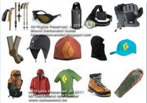 Equipmentand Gear List for Trekking Mount Damavand Iran