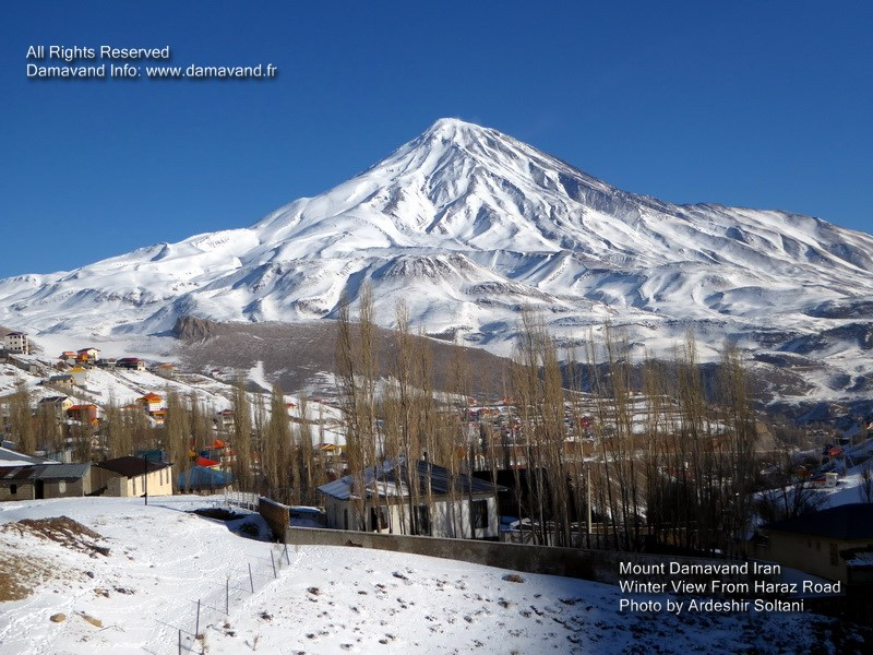 Damavand is a volcano and is situated in the central part of Alborz Mountain chain