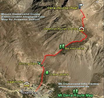 Dena Mountain South Route Trekking Map