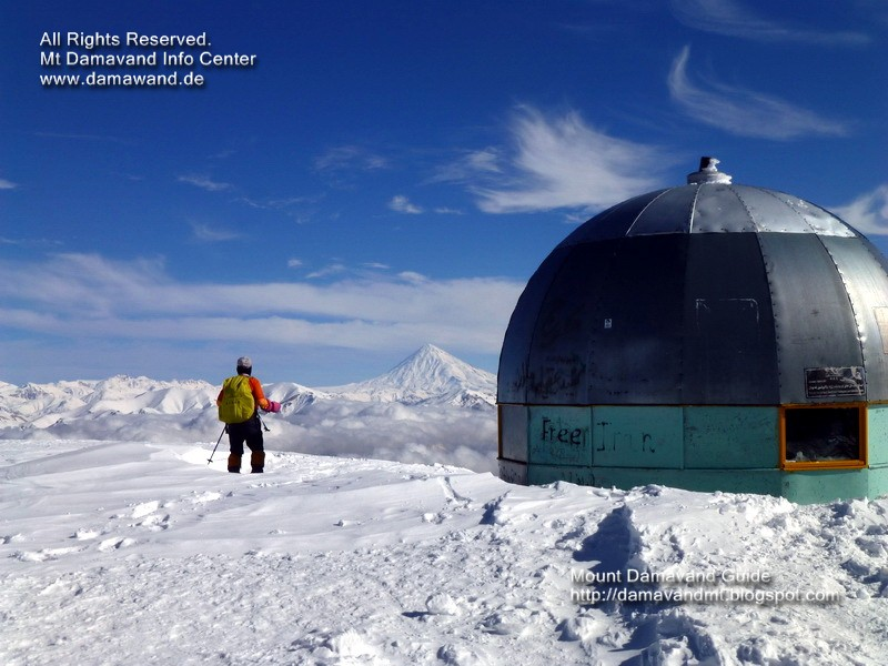 Mt. Damavand view from Mt. Tochal summit, Mt. Tochal is the best peak for acclimatization before trying Mount Damavand Iran