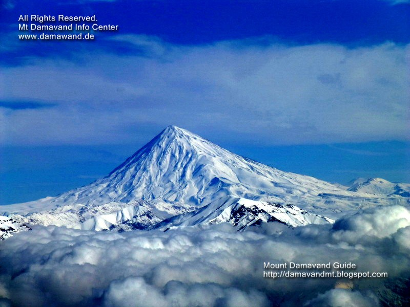 Mt. Damavand Iran. Winter view from Mt Tochal summi. Photo Ardeshir Soltani