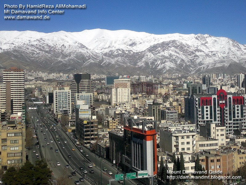 Mount Touchal View from Tehran. Tochal Mountain and Tehran city.