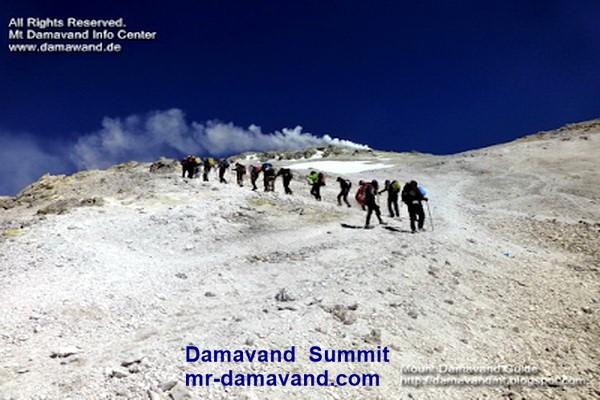 Mt Damavand Trek. Trekking at 5400 to 5600 masl in Sulphur Gas Zone.  Final steps to the summit